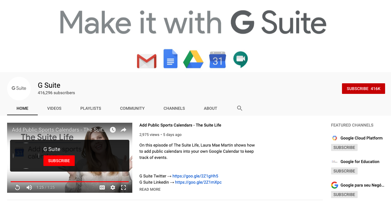 G Suite Youtube channel