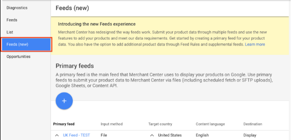 Google Merchant Center feeds
