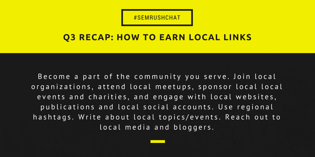 Earning local links