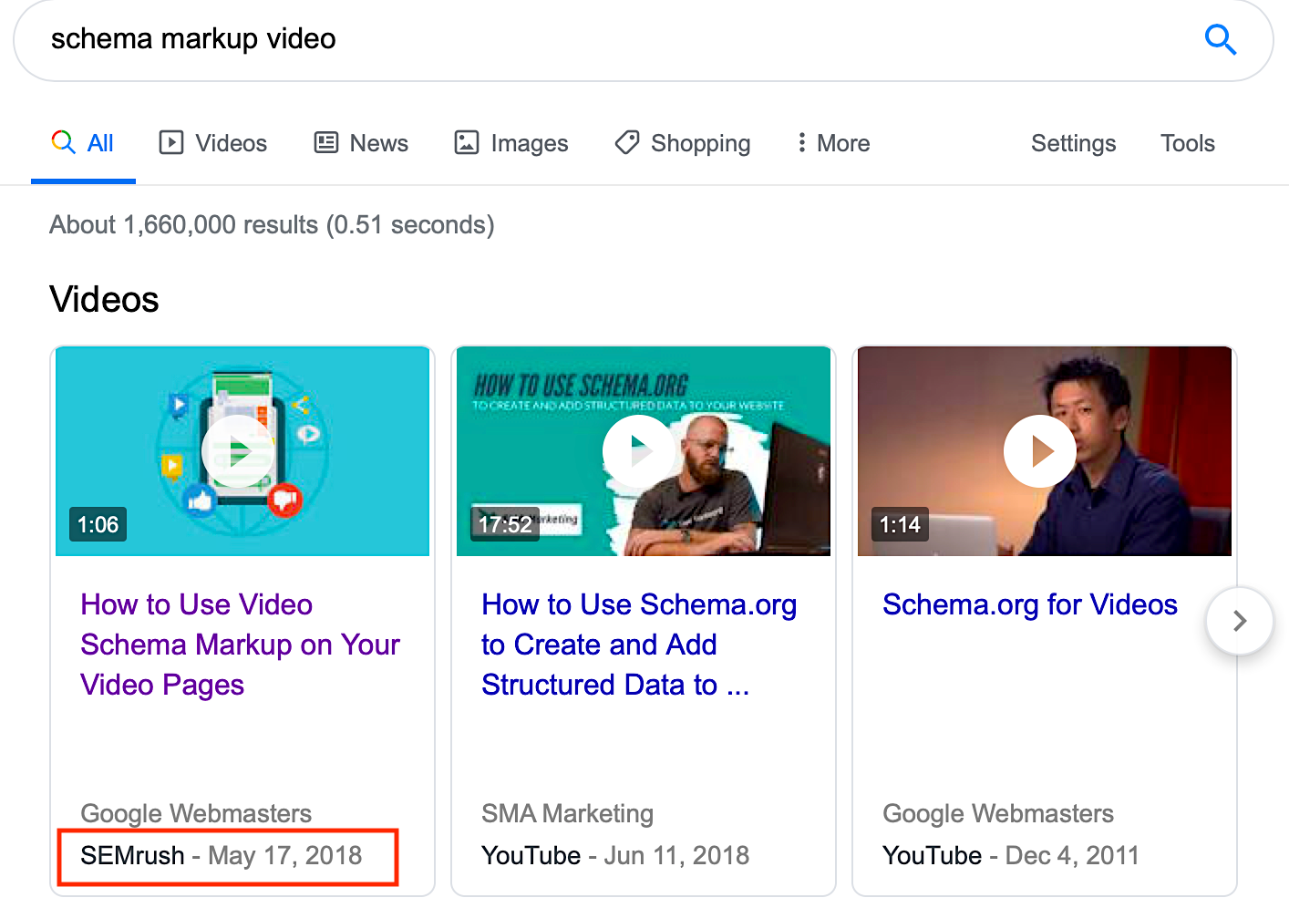 How schema works with video in Google search results pages