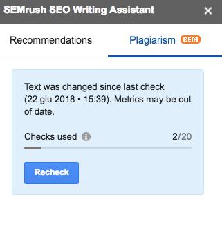 Il controllo anti plagio di SEO Writing Assistant