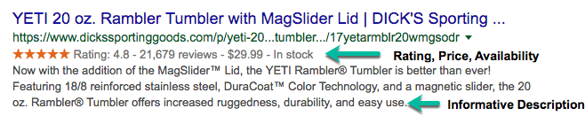 Screenshot of a Yeti Rambler Rich Result at Dick's Sporting Goods