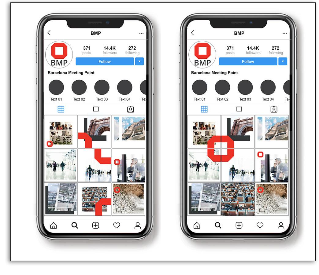 Presencia visual en redes sociales - Ejemplo BMP