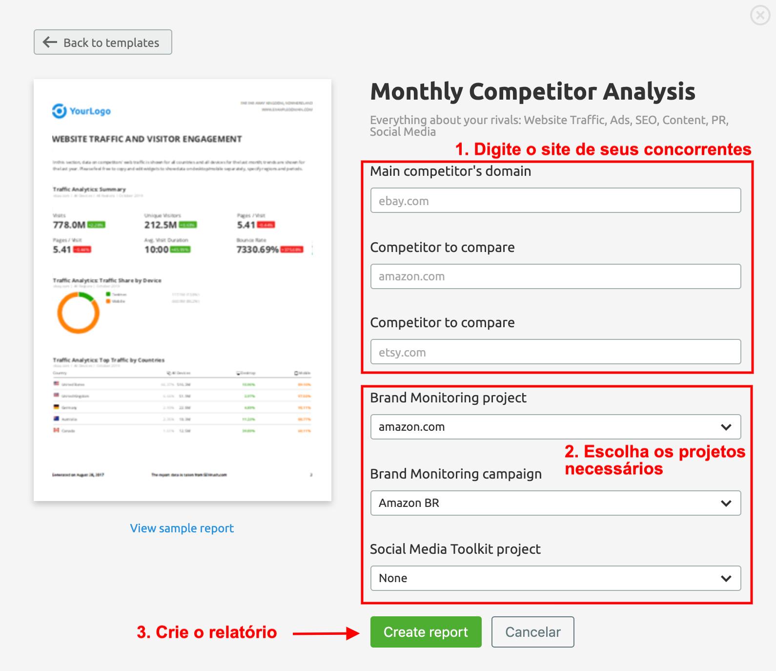 Monitoramento de concorrentes e relatórios automatizados da SEMrush. Imagem 0