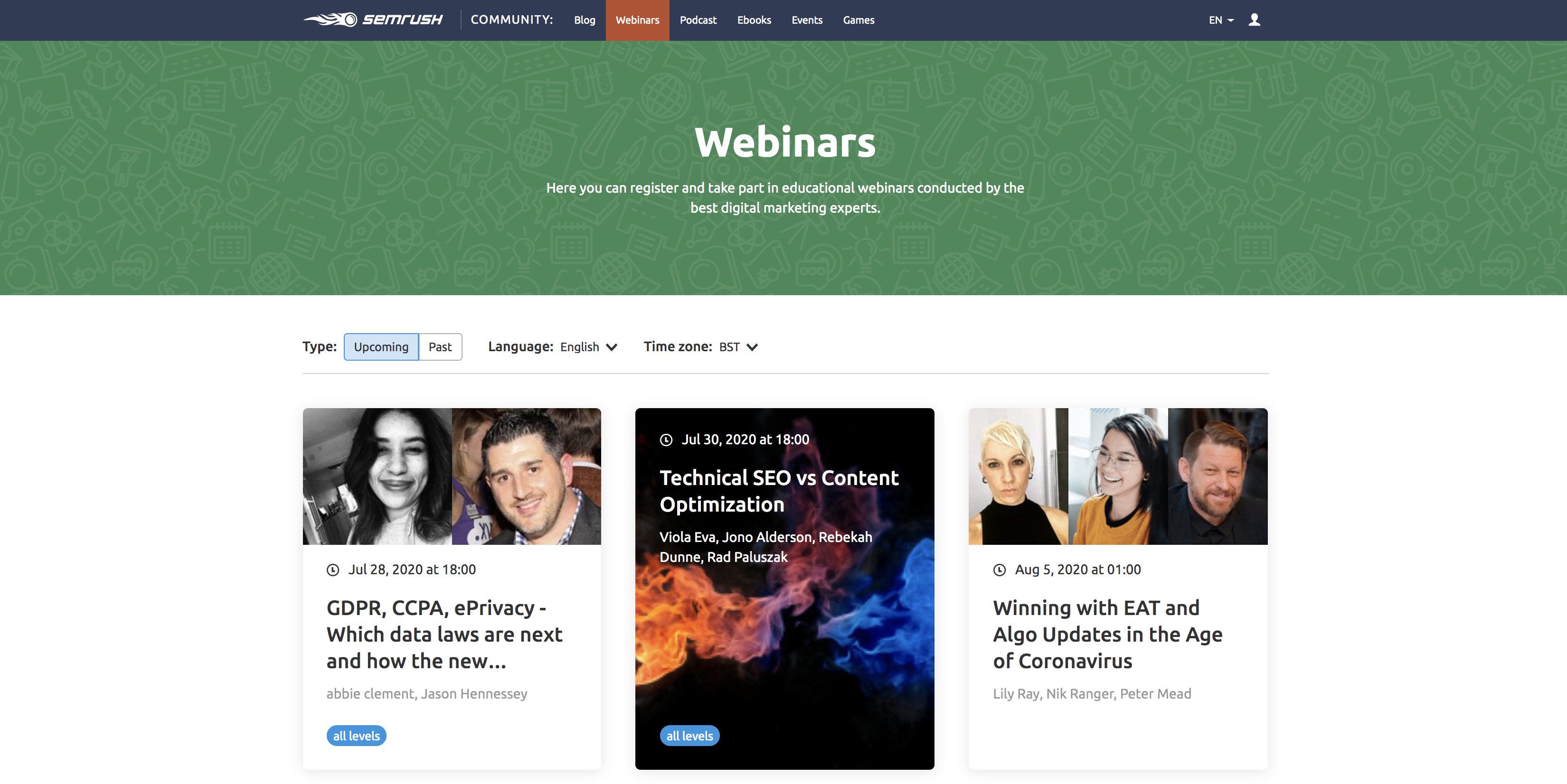 SEMrush webinar page screenshot