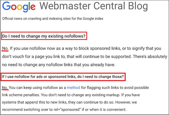 cosa consiglia Google sull'uso dei nuovi attributi dei link nofollow