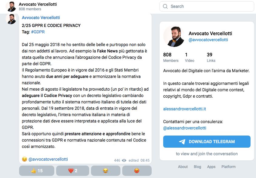 Per conoscere temi legali legati al web segui Alessandro Vercellotti su Telegram