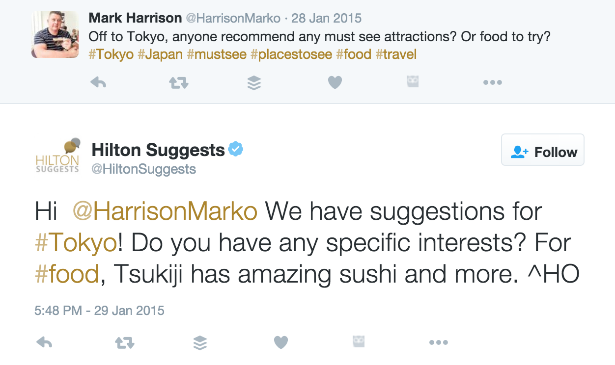 Hilton Suggests on Twitter