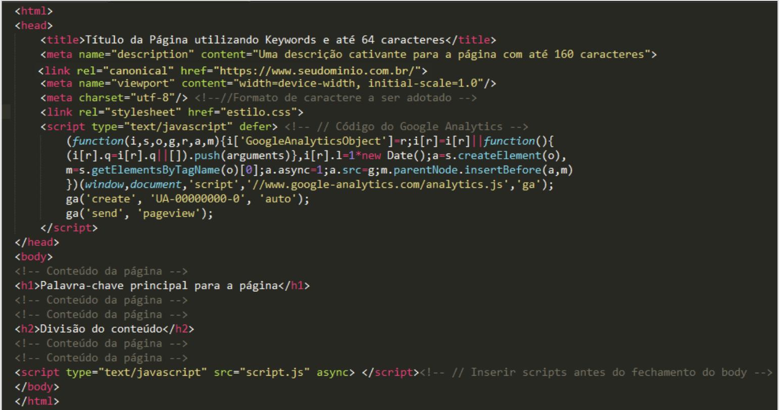 Semântica do código fonte com as tags organizadas dentro da head e dentro do body