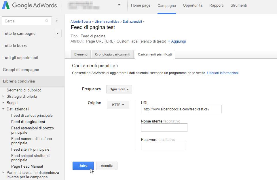 Come salvare la pianificazione del feed su Google Adwords