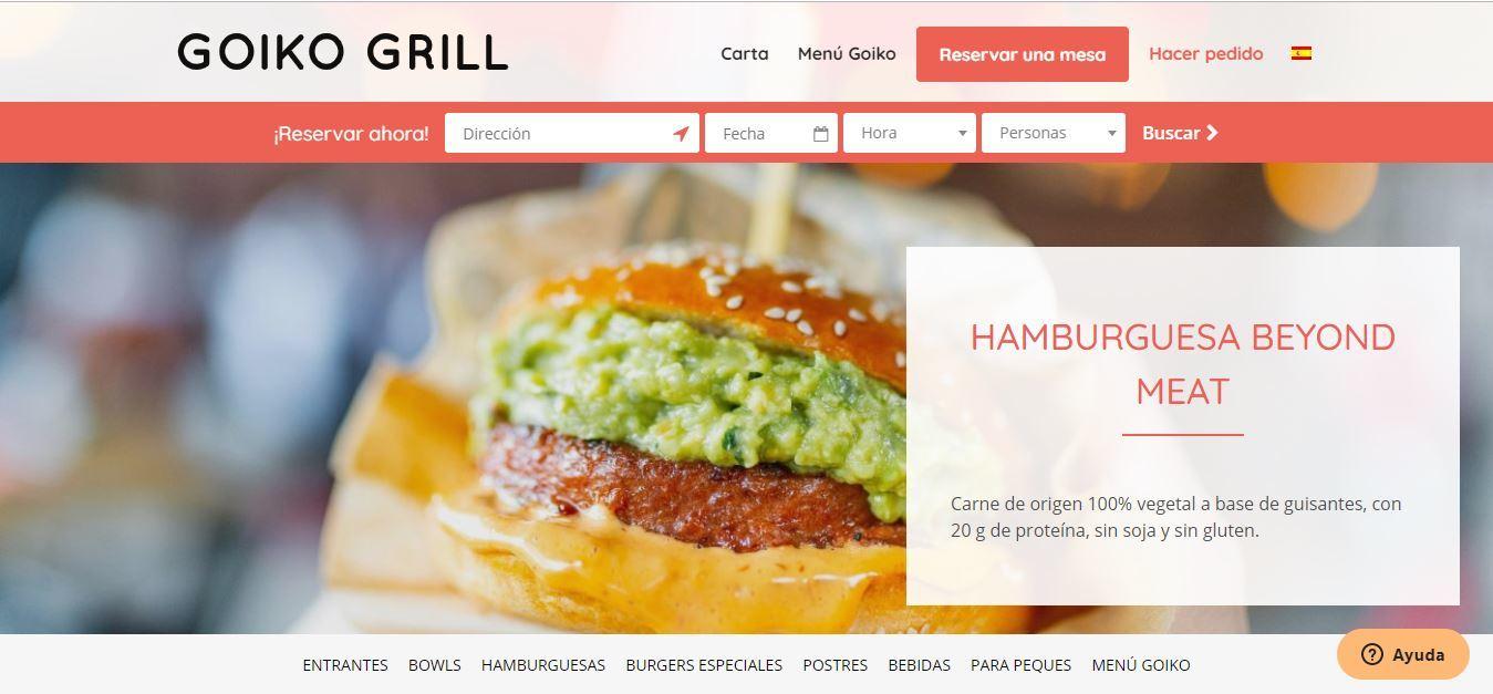 Plan de marketing para restaurantes de comida rápida - Landing Goiko Grill