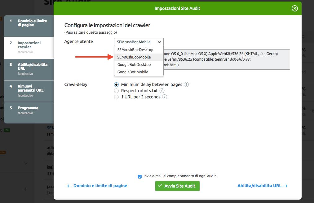 Come impostare il crawler mobile in Site Audit