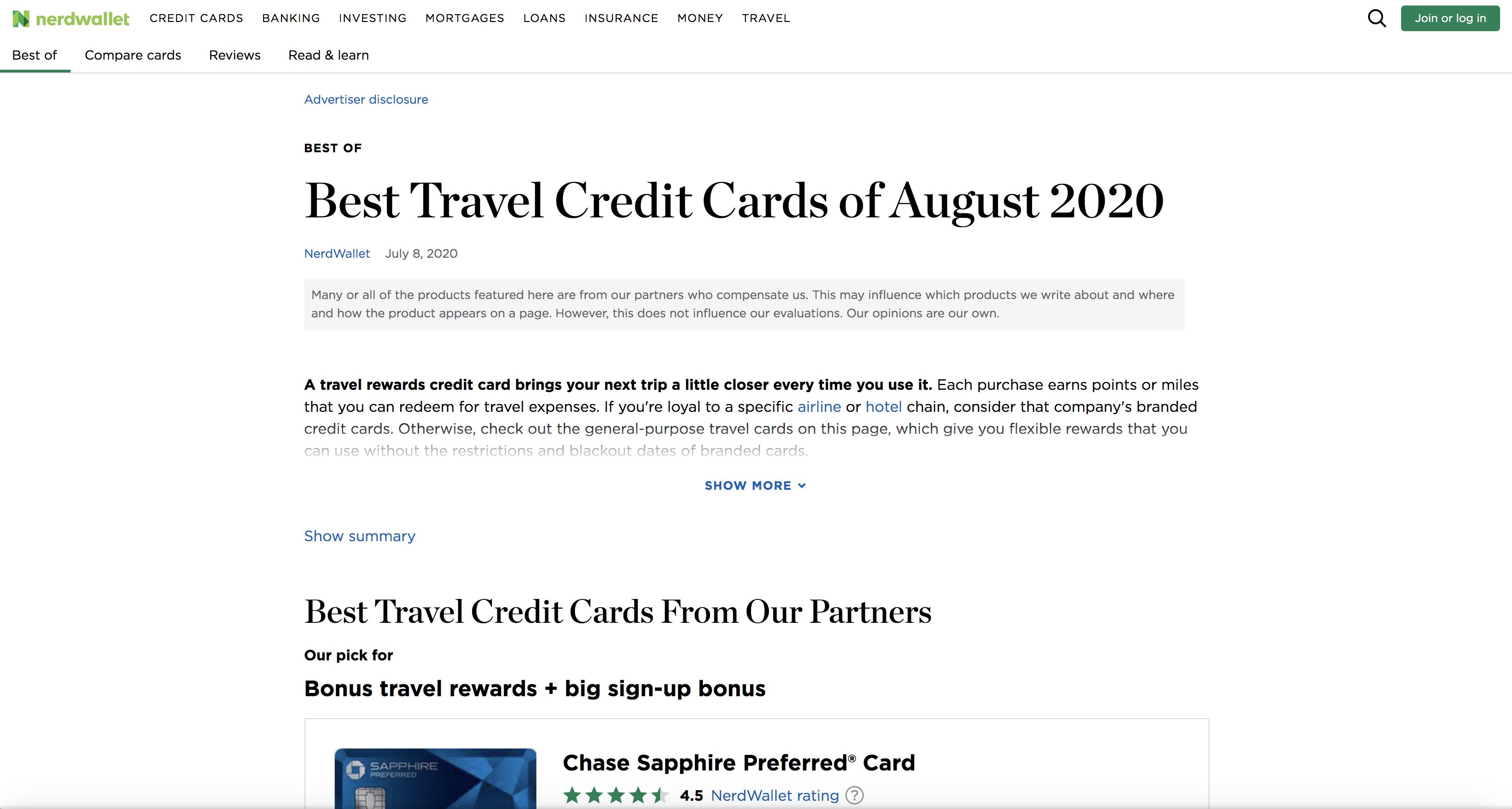 NerdWallet Best Travel Credit Cards Article Screenshot