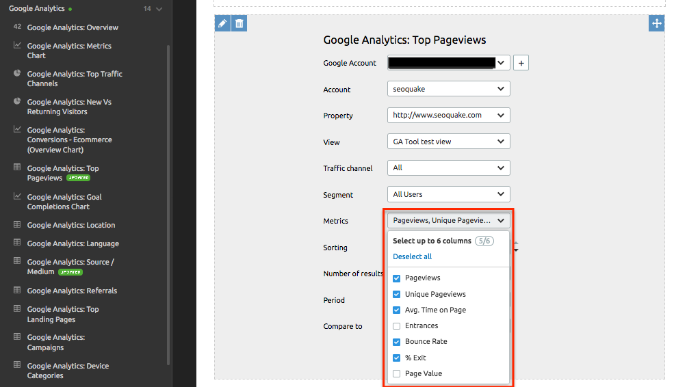 Google Analytics widget in My Reports