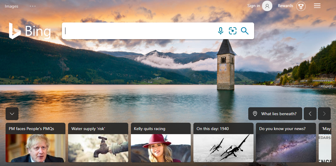 Bing home search bar