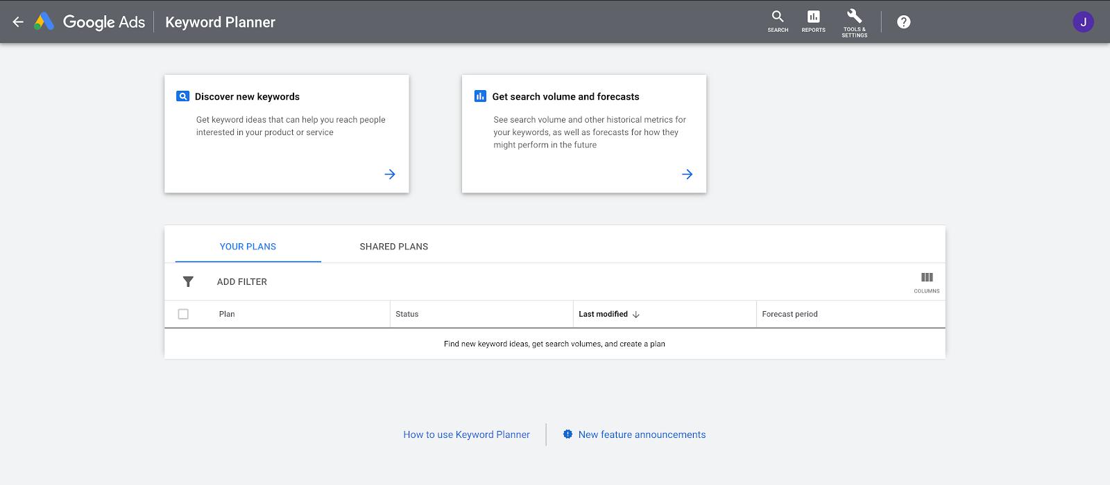 keyword planner discover new keywords