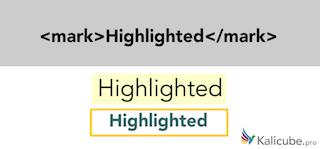 Example of semantic HTML5 tag - mark