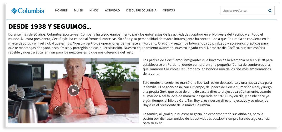 Textos narrativos para empresas - Columbia