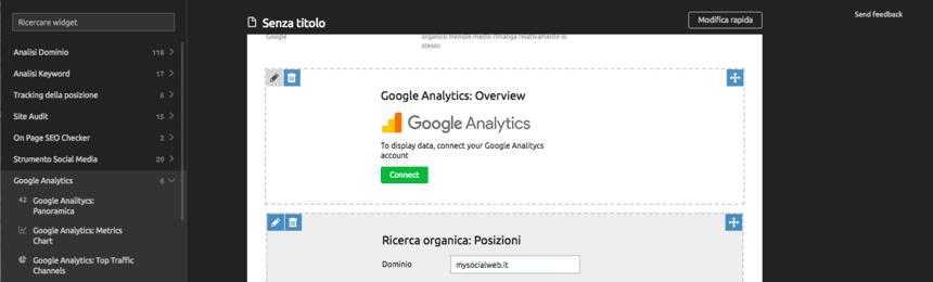 google analytics e il report di semrush