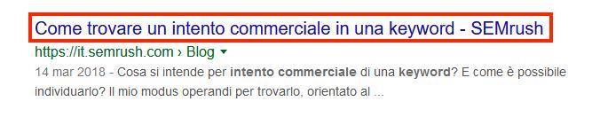 Un esempio di title nelle SERP di Google