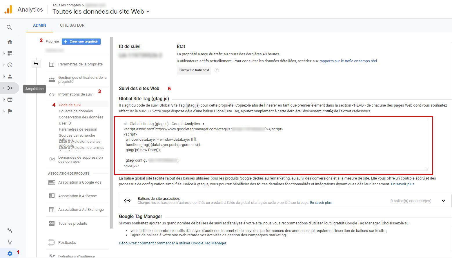 Code de suivi Google Anlytics