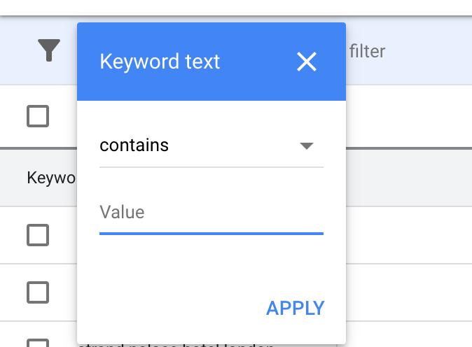 keyword text in Google Keyword Planner