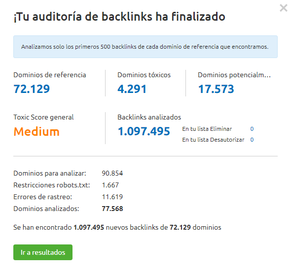 Toxic Backlinks - Auditoría completada