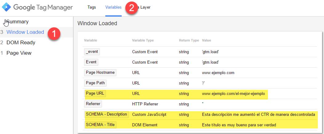 Preview y debug de variables en GTM