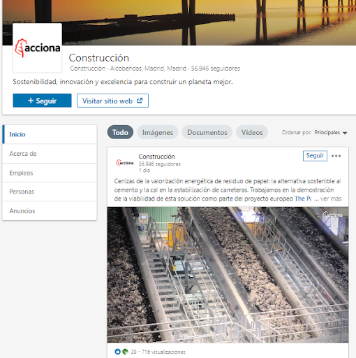 Páginas de empresa en LinkedIn - Ejemplo Acciona