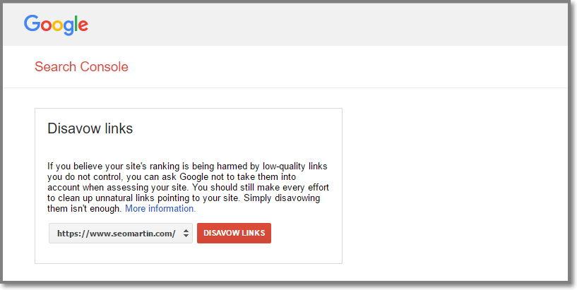 Reenvie seu arquivo de links desaprovados para o Disavow links da versão Https