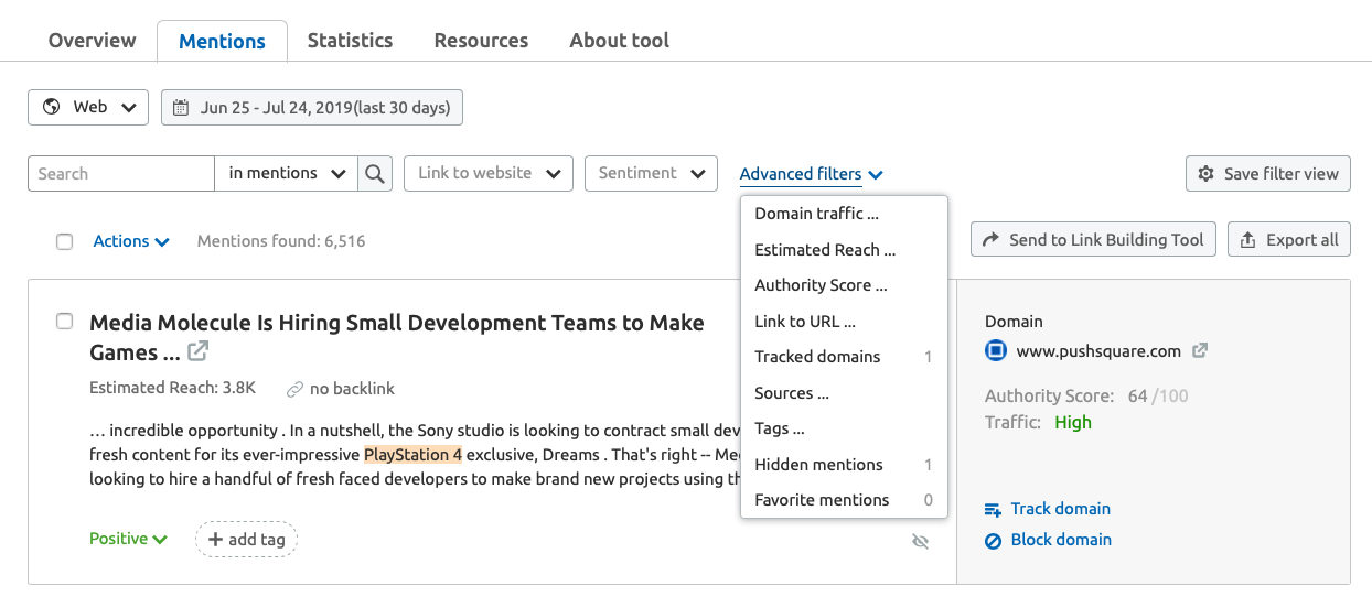 Filtering in Brand Monitoring tool