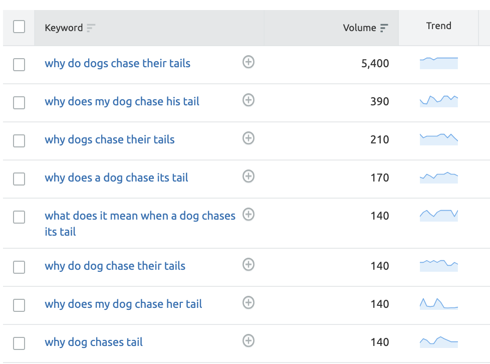 Question queries in Keyword Magic Tool