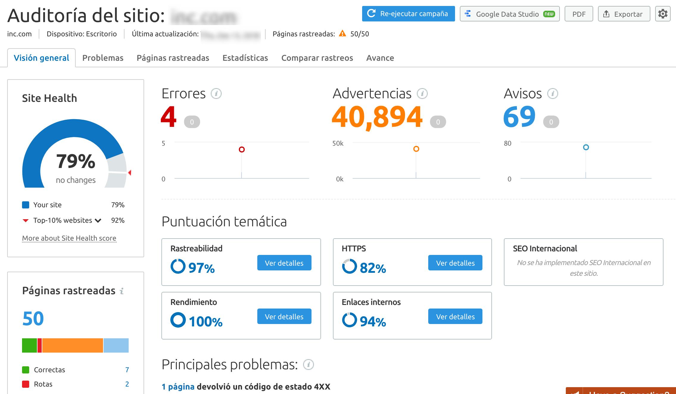Site Audit Report Screenshot