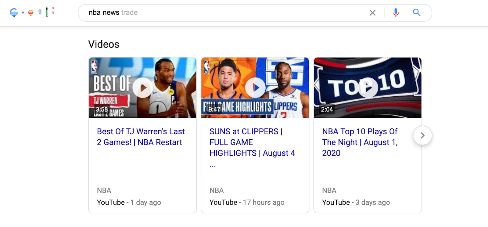 Video SERP feature
