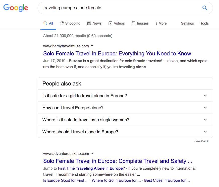 """Screenshot of Google results for """"traveling Europe alone female""""."""