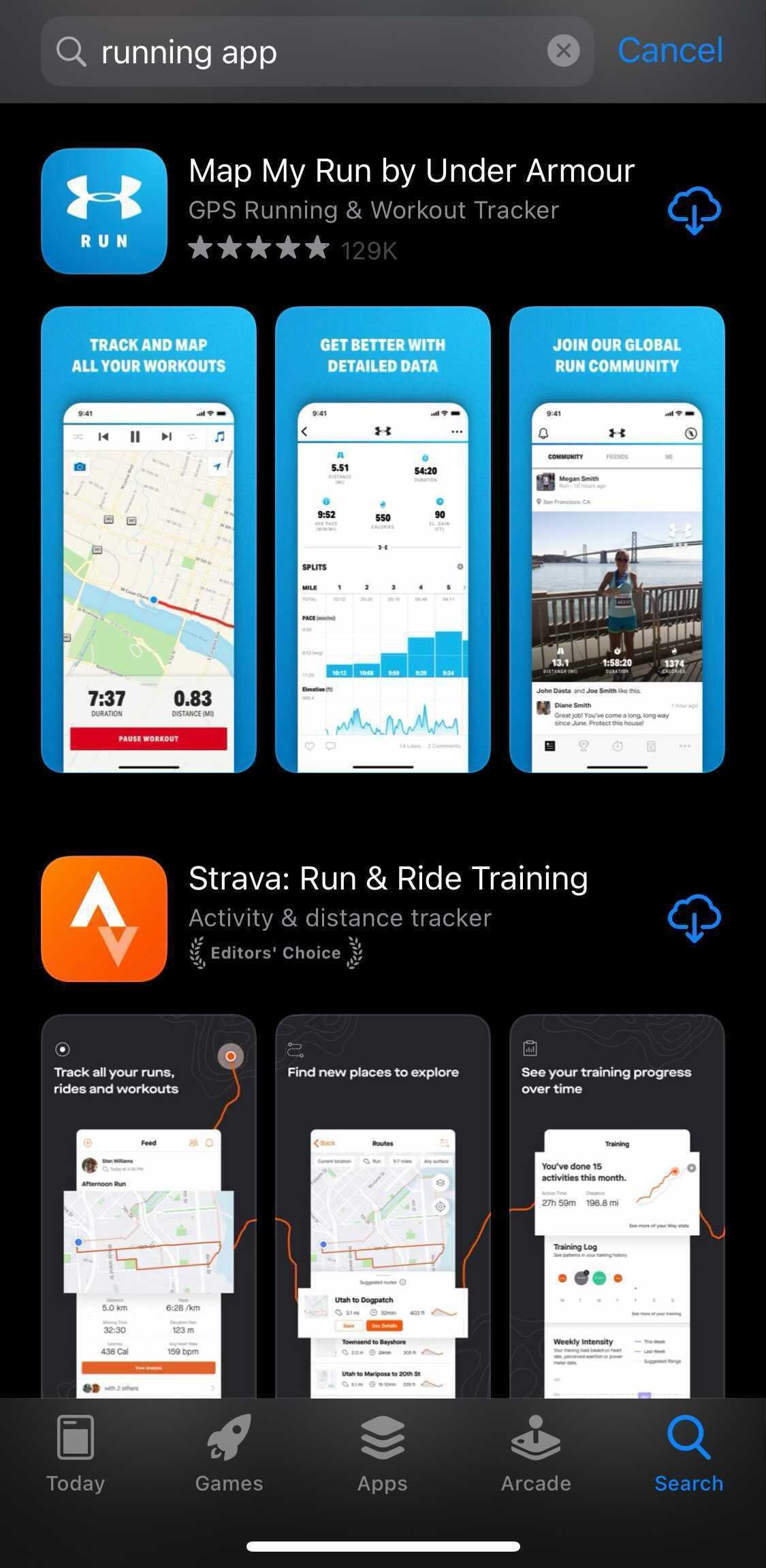 Map My Run App title on iOS