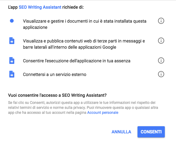 SEO Writing Assistant: permesso di eseguire l'add-on