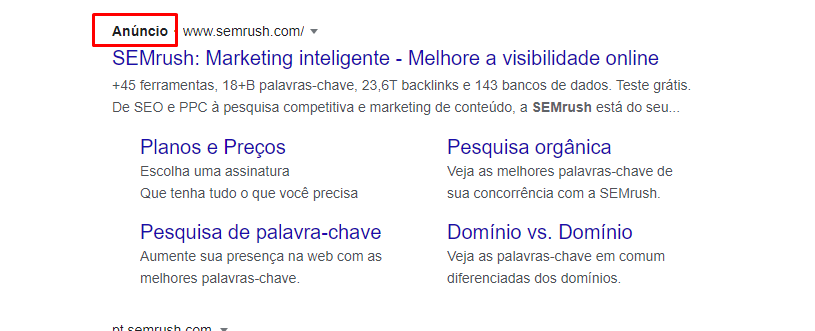 SEMrush add exemplo