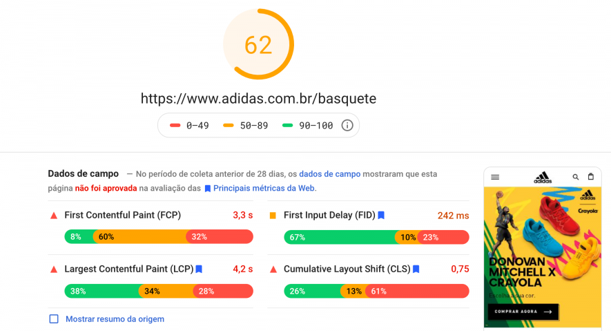 Google Page Speed Insights Adidas Basquete