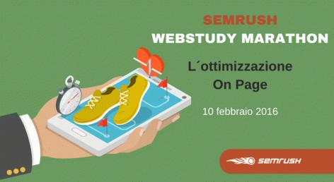 Anteprima: SEMrush WebStudy Marathon: scopri l'Ottimizzazione On Page