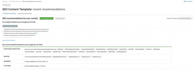 SEO Content Template screenshot