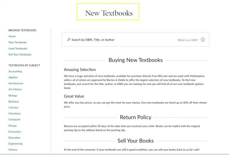 barnes and noble new textbooks h1 screenshot