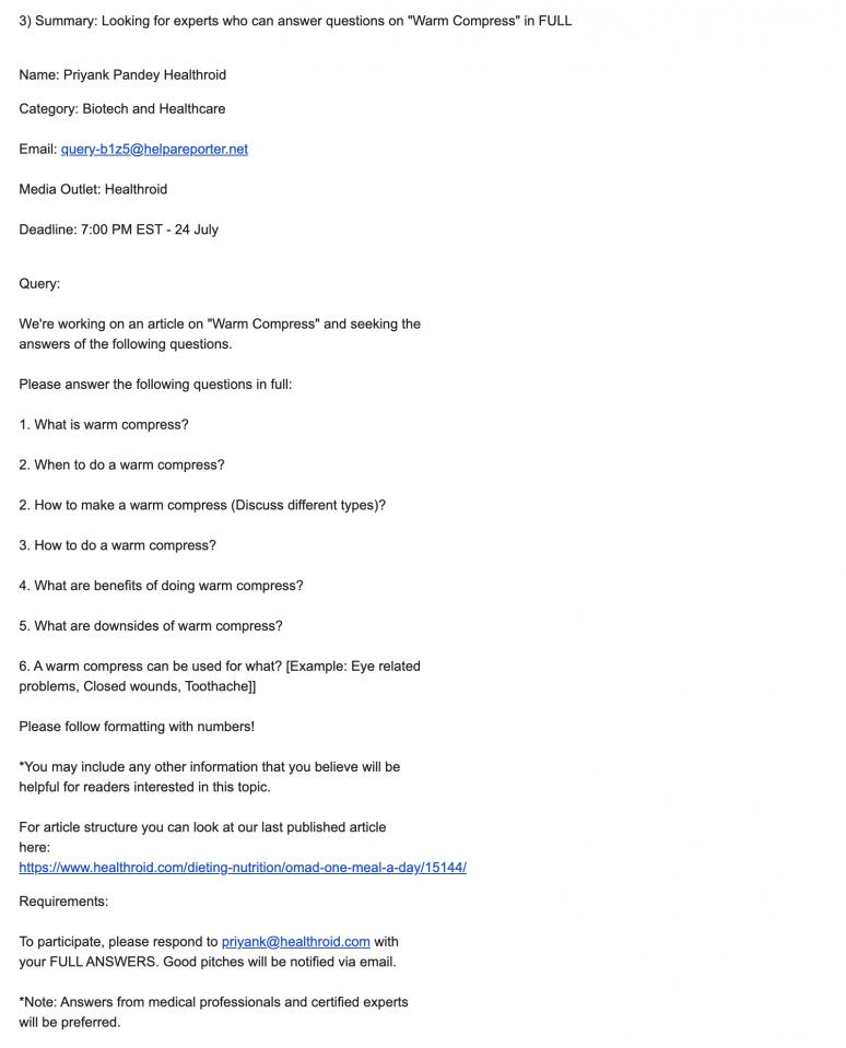 HARO Email Request Screenshot