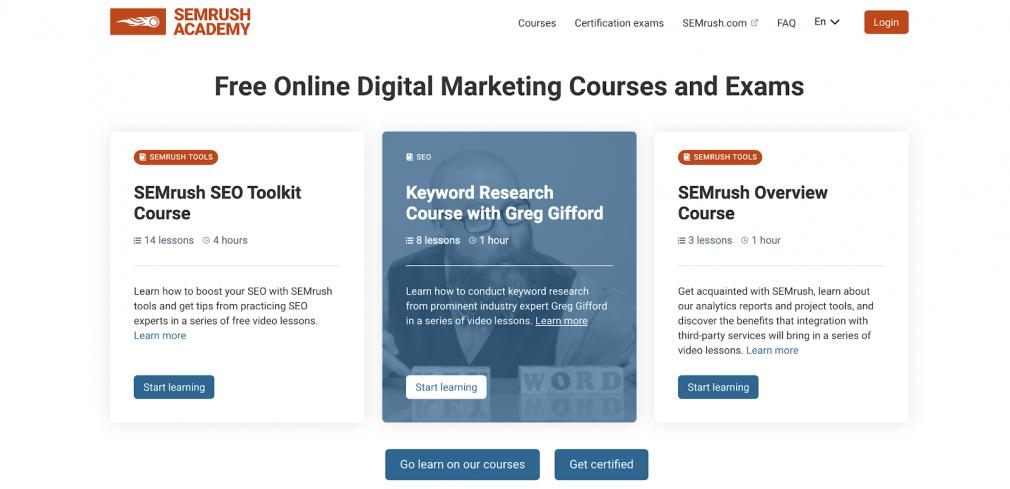 SEMrush digital marketing course page.