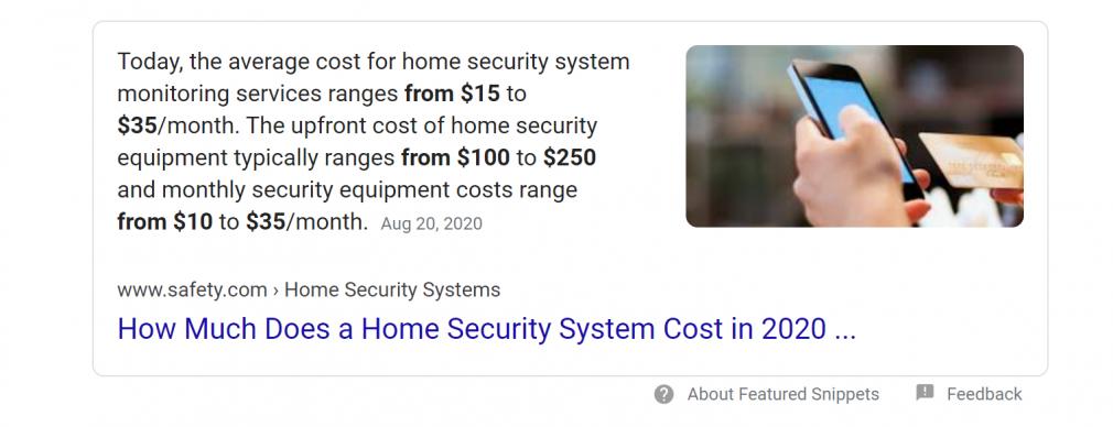 Capture d'écran Google Featured Snippet