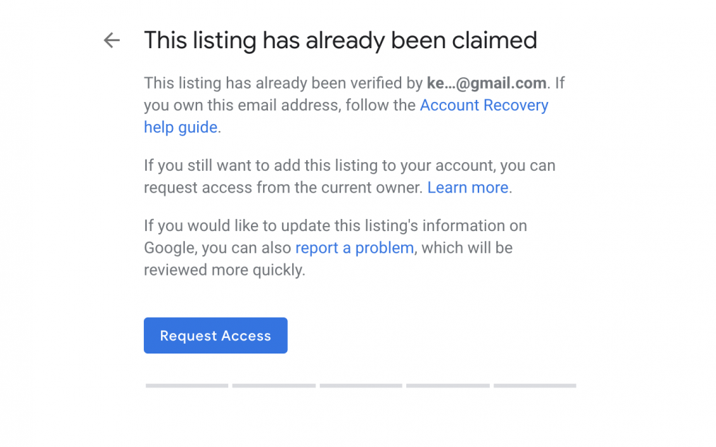 Google My Business showing that a listing is already claimed