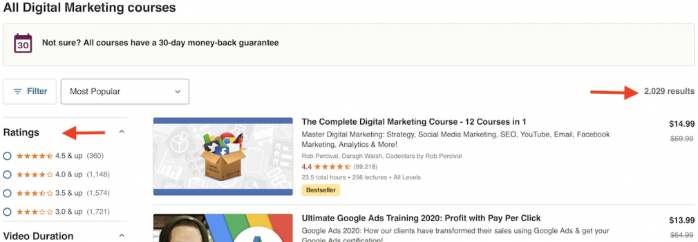 Digital Marketing Courses page at Udemy