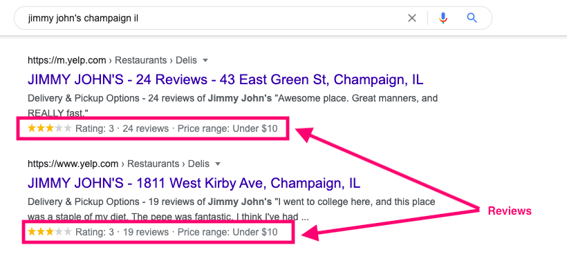 review serp features