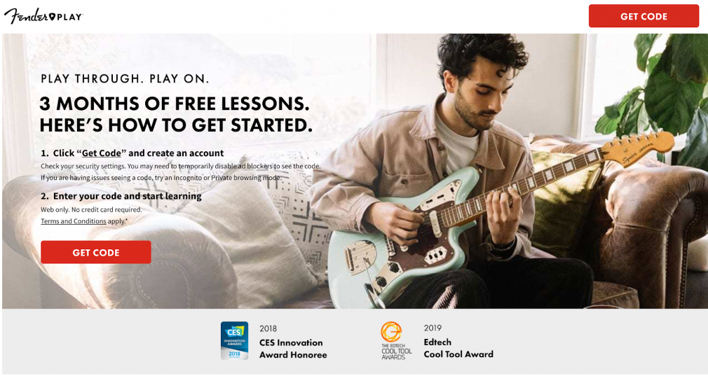 Online course by Fender page