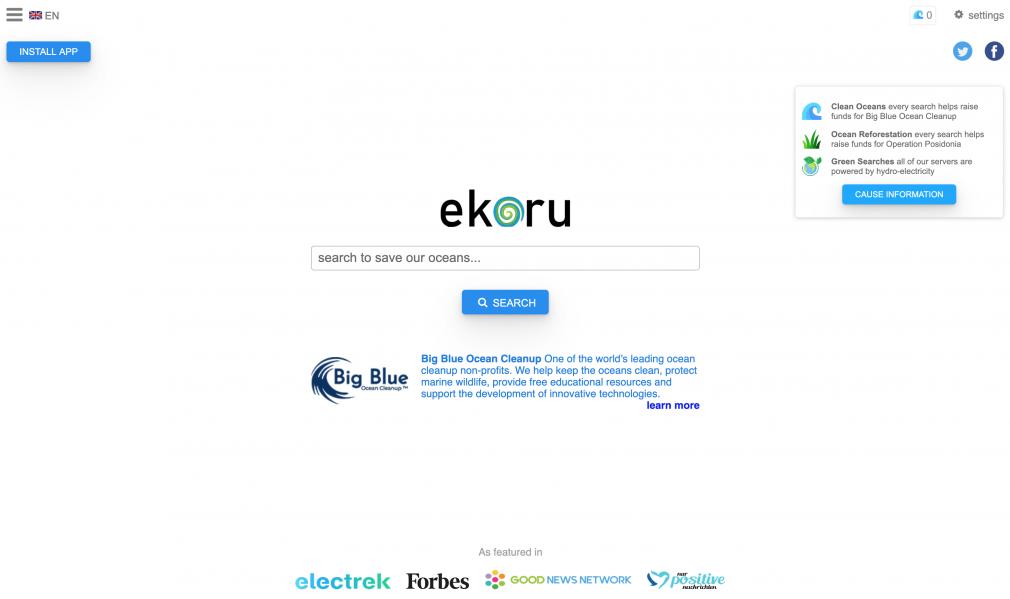 ekoru search engine screenshot